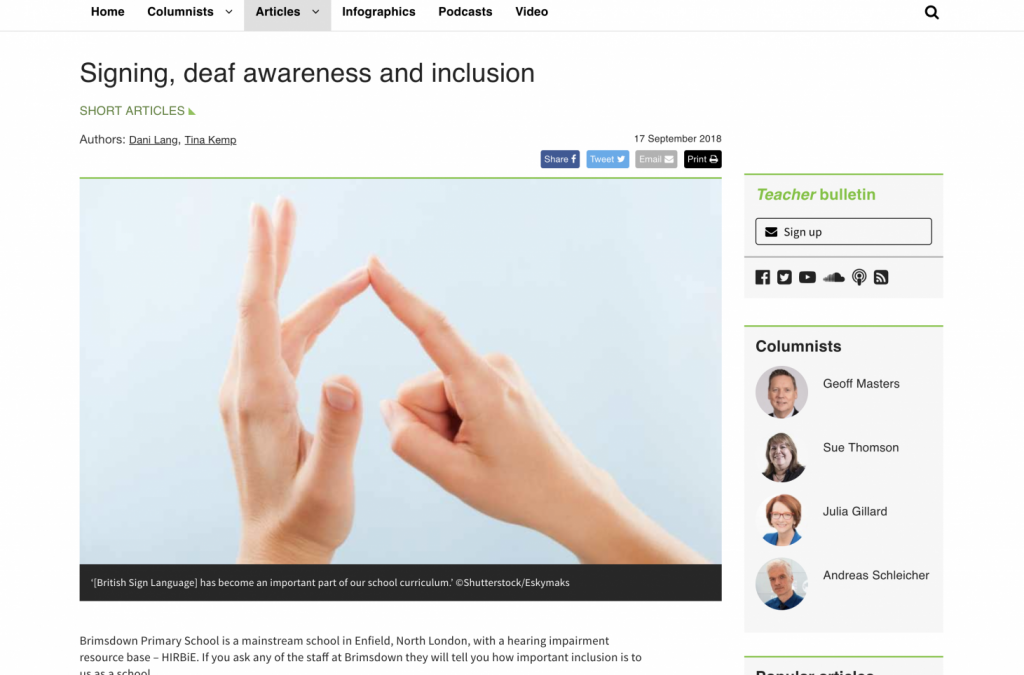 Signing, deaf awareness and inclusion