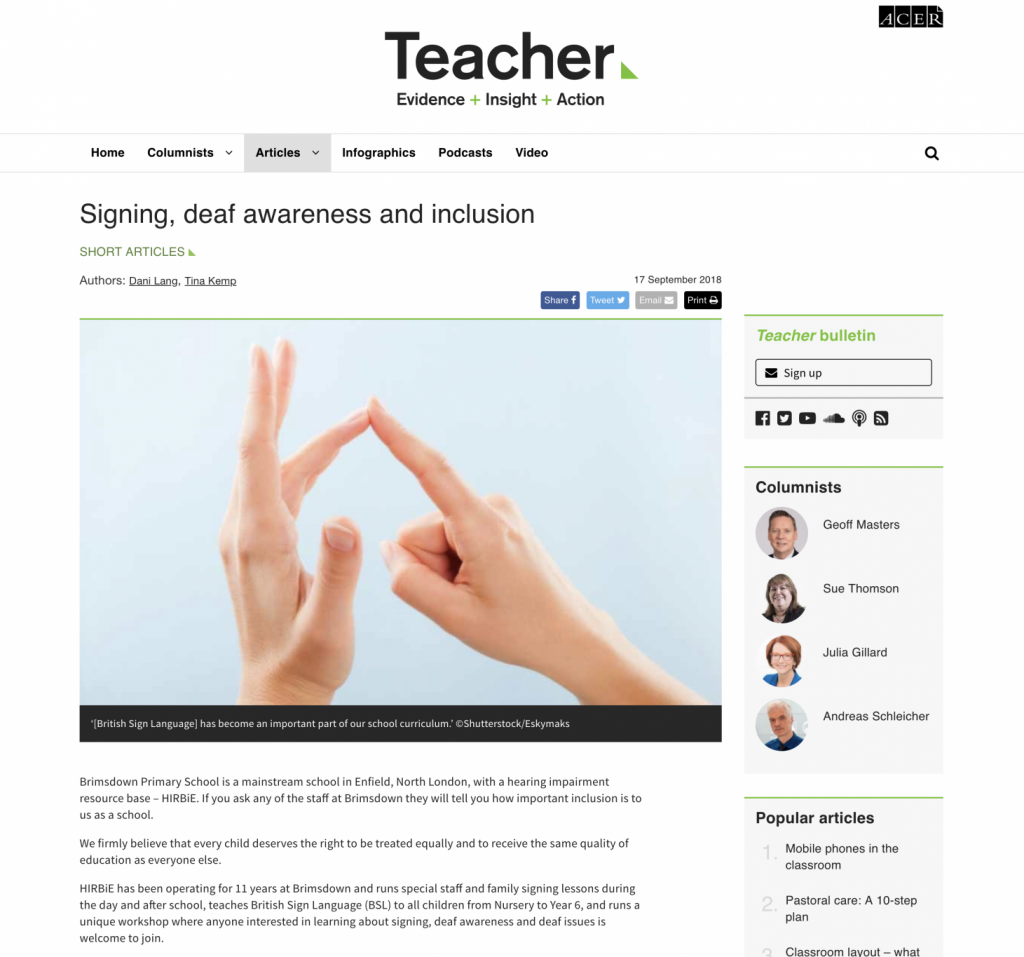 Ivy Teacher Magazine article Signing, deaf awareness and inclusion web screenshot