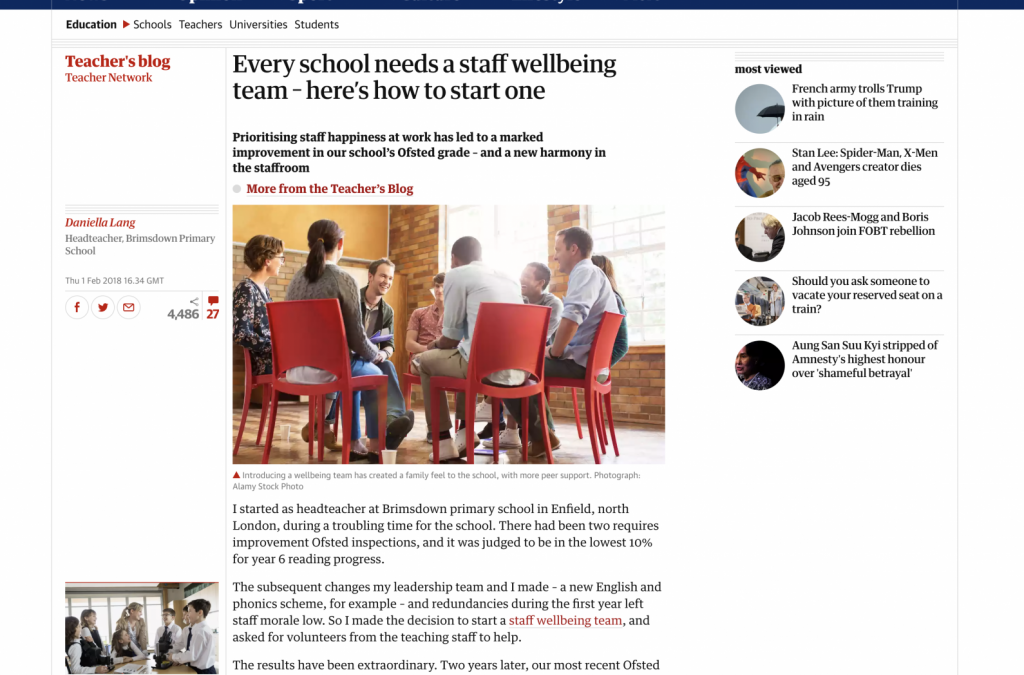 Every school needs a staff wellbeing team – here's how to start one