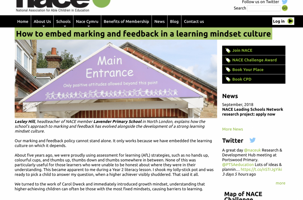 How to embed marking and feedback in a learning mindset culture