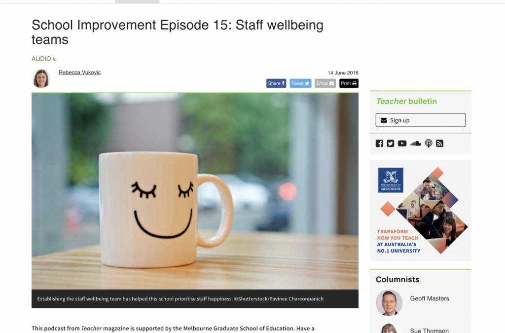 School Improvement Episode 15: Staff wellbeing teams