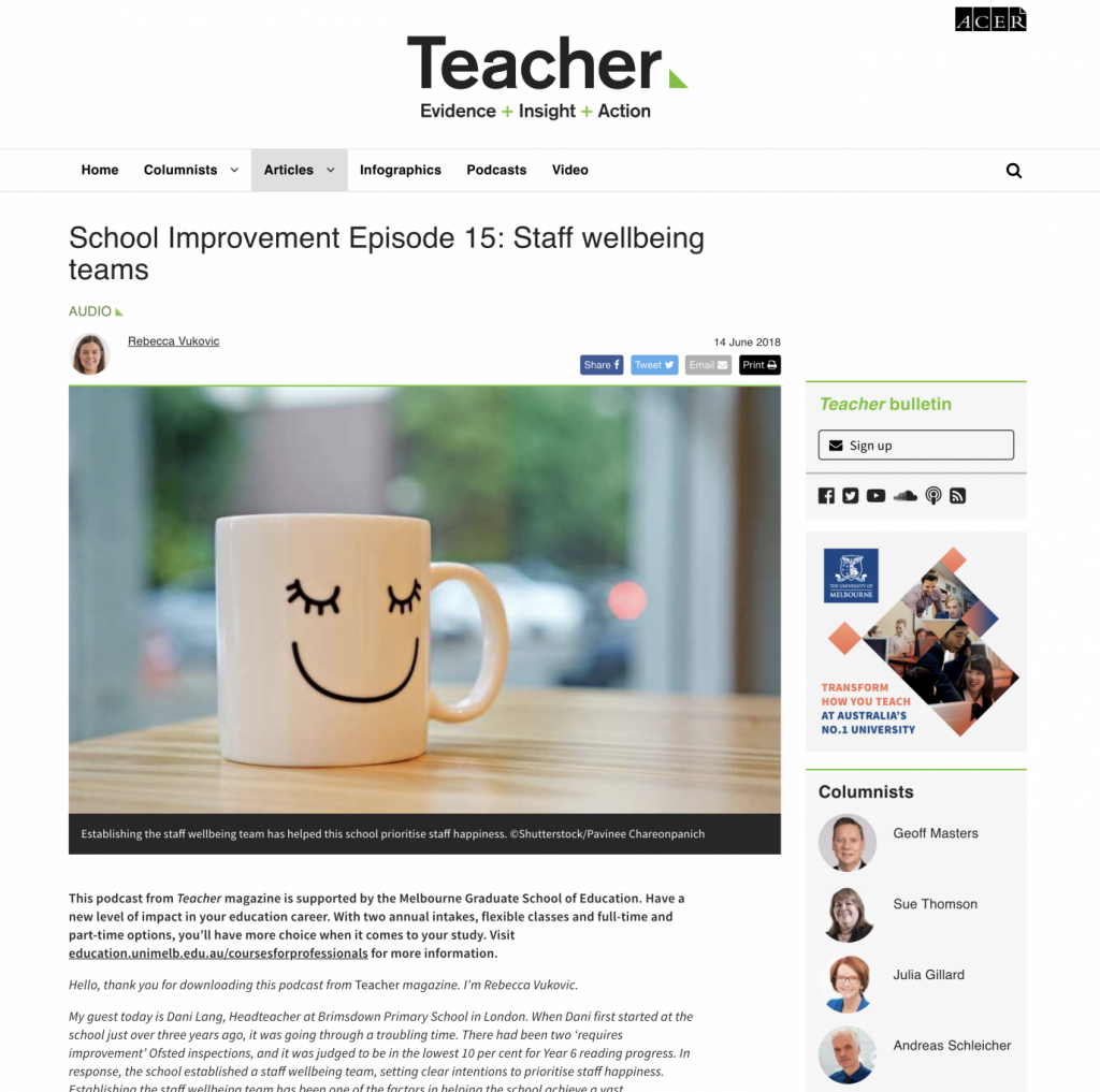 Ivy Teacher Magazine article School Improvement Episode 15: Staff wellbeing teams web screenshot